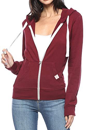 Urban Look Womens Active Long Sleeve Fleece Zip Up Hoodie with Plus Sizes (Large, B1 Solid Burgundy) ()