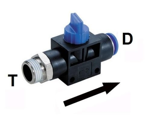 Push to Connect 3 Way Hand Valve Union Fitting 3/8