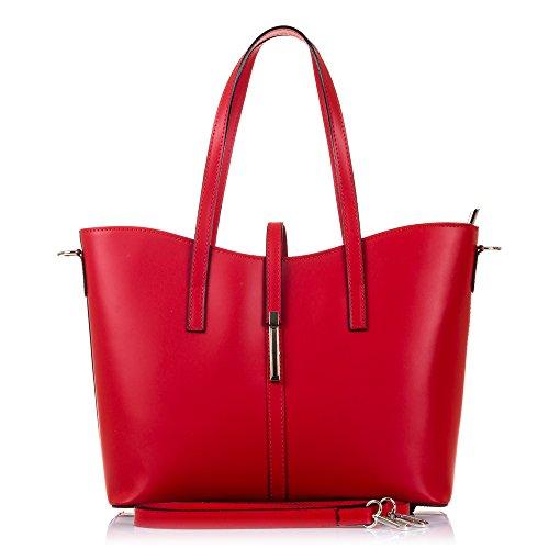 FIRENZE ARTEGIANI.Bolso TOTE de mujer piel auténtica.Bolso hombro cuero genuino Ruga lujo.Diseño exclusivo. MADE IN ITALY. VERA PELLE ITALIANA. 35x28x15 cm. Color: BEIS Rojo