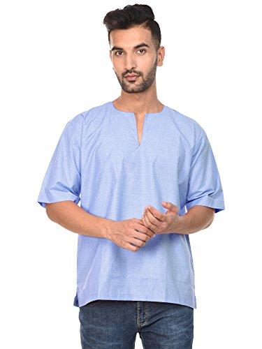 Kurta Coton Moitié Manches Hommes Tunique Indienne Printemps Réservoir Chemise De Yoga De Mode Haut Bleu