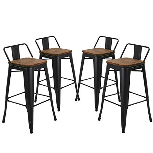 YongQiang Set of 4 Metal Bar stools with Backs 26 inch Kitchen Dining Chair  Counter Stool Cafe Side Chairs with Wood Seat Low Back Matte Black