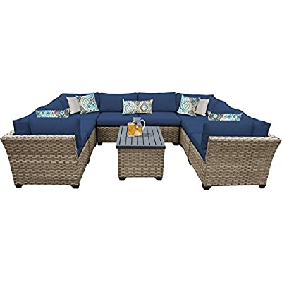 "TK Classics Monterey 9 Piece Outdoor Wicker Patio Furniture Set, Navy - FULLY ASSEMBLED - Seating area is ready to use and enjoy with family and friends Imported from China 32"" x 25"" x 32"" - patio-furniture, patio, conversation-sets - 411fnbhZw%2BL. SS400  -"