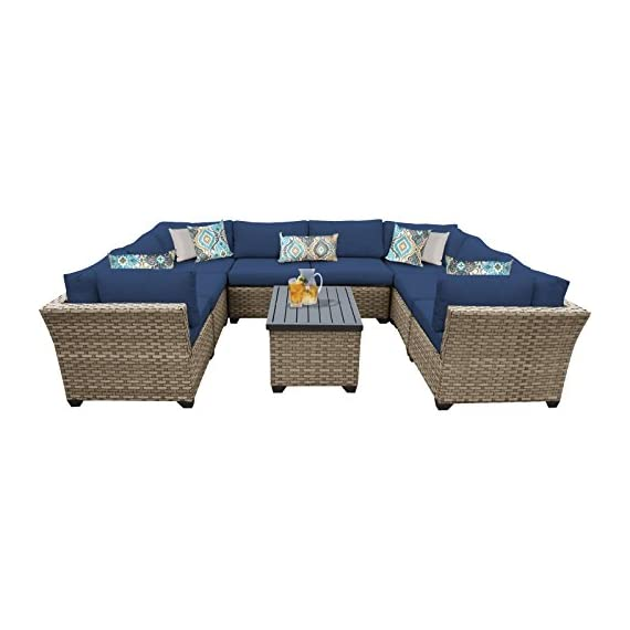 """TK Classics Monterey 9 Piece Outdoor Wicker Patio Furniture Set, Navy - FULLY ASSEMBLED - Seating area is ready to use and enjoy with family and friends Imported from China 32"""" x 25"""" x 32"""" - patio-furniture, patio, conversation-sets - 411fnbhZw%2BL. SS570  -"""