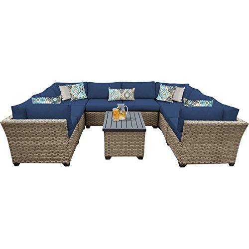 411fnbhZw%2BL - TK Classics Monterey 9 Piece Outdoor Wicker Patio Furniture Set, Navy