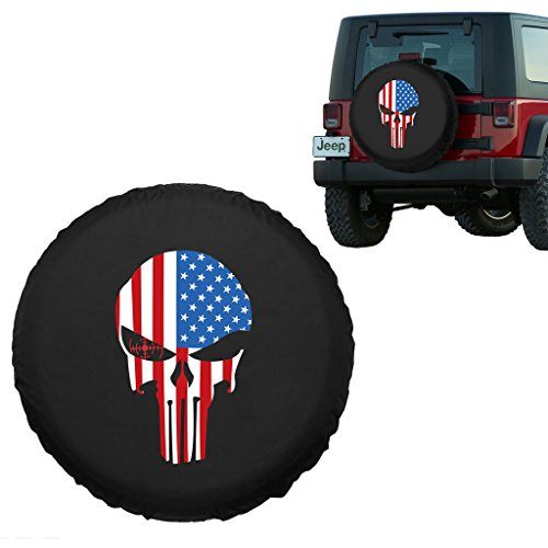 Moonet American Flag Superhero Spare Car Tire Cover Jeep RV Truck SUV Camper Wheel Care R17(81cm/31.88inch)