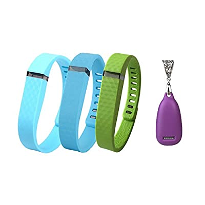 Greeninsync Fashion Pendant(1pics) + Replacement 3D Edition Bands(Large 3pics) For Fitbit Flex Wireless Activity Bracelet Sport Wristband