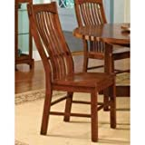 Cheap Laurelhurst Slatback Side Chair with Wood Seat Cognac Oak/Set of 2