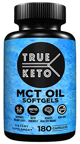 TRUE KETO MCT Oil Soft Gel Capsules - 180 Count 1000mg Pure MCT Keto Diet Pills, Caprylic Acid C8 + Capric Acid C10 Medium Chain Triglycerides. Maximum Potency, Increased Energy and Brain Function (Diet Pills True)