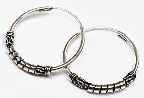925 Silver Bali Tribal Fashion Earring Hoops Accesssories for Women 13/16