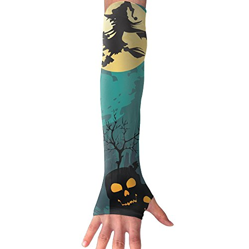 Castle Witches Pumpkin Halloween Moon UV Sun Protection Stretchy Cooling Forearm Arm Sleeves Warmers Cuffs Breathable Outdoor (Fat Halloween Witch)