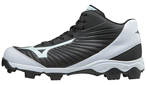 Mens Molded Baseball Cleats (Mizuno (MIZD9) Men's 9-Spike Advanced Franchise 9 Molded Cleat-Mid Baseball-Shoes, Black/White, 12 D US)