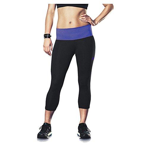 New Adidas Women's Performer Mid-Rise Three-Quarter Tights Black/Amazon Purple X-Small