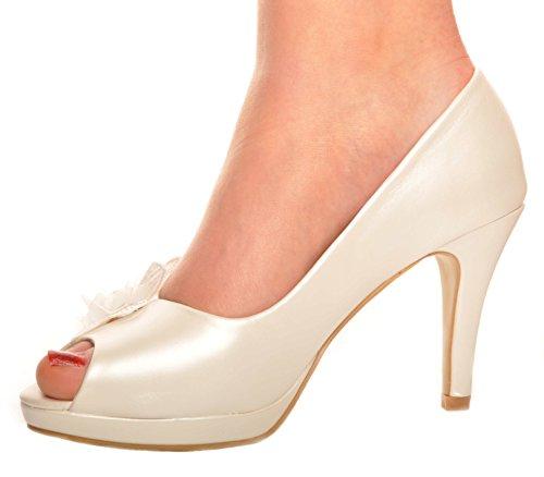 Blanquecino Perla y Flor Peep-Toe Tacon de Aguja Zapatos de la Boda Talones de Novia