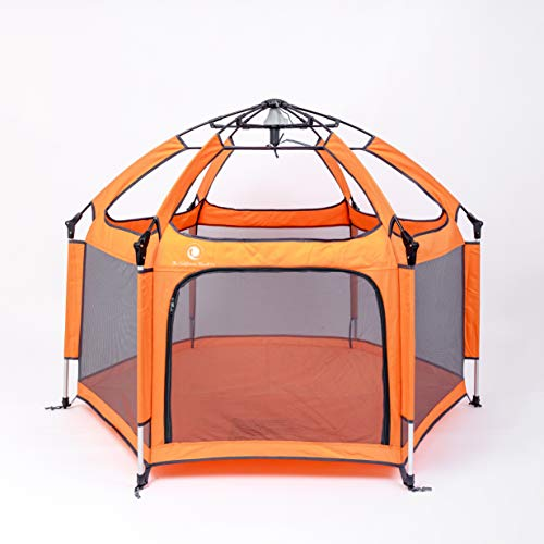 Pop 'N Go - The World's Best Kids Playpen - Lightweight & Portable - For Inside or Outdoor Use - Safety Locks Keep Playpen Firmly Planted and Secure - Free UV Shade with Every Order!(Orange and Gray) (Best Pen Company In The World)