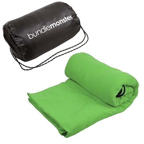 Bundle Monster Warm Cozy Microfiber Fleece Adult Sleeping Bag Liner - Neon (Warmer Cozy)