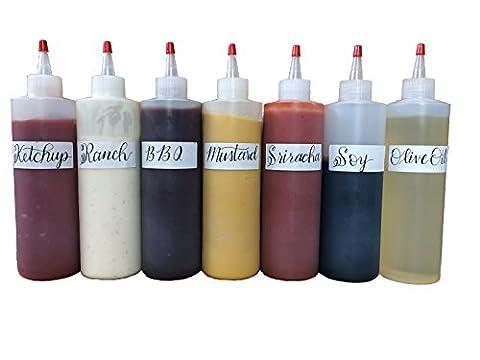 Bonus 7 Pack Squeeze Squirt Condiment Plastic Bottle 16 ounce with cap 10 FREE BLANK LABELS (16 Oz Plastic Cylinder Bottles)
