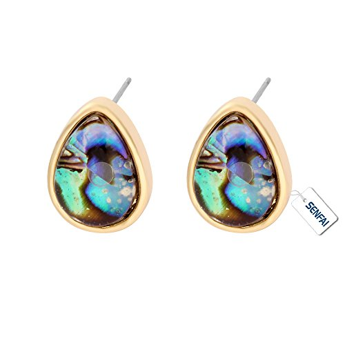 SENFAI Created Water Drop Blue Green Abalone Paua Shell Stud