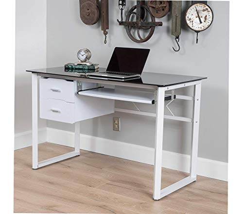 Christоphеr Knight Hоmе Office Home Furniture Premium Reeve Black Tempered Glass Computer Desk, White