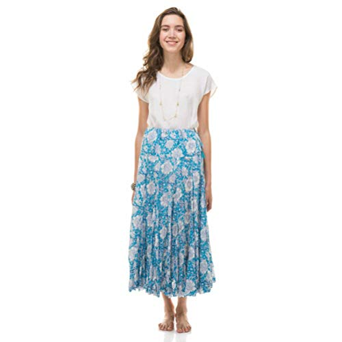 Ethic Coton Roses Jupe Zen 100 Coralie Turquoise Uqgaw