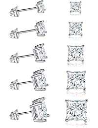 18K White Gold Plated Princess Cut Clear Cubic Zirconia Stud Earring Pack of 5 Pairs