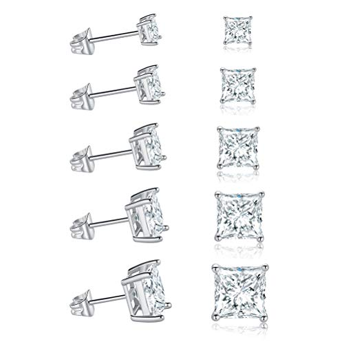 (MDFUN 18K White Gold Plated Princess Cut Clear Cubic Zirconia Stud Earring Pack of 5 Pairs)