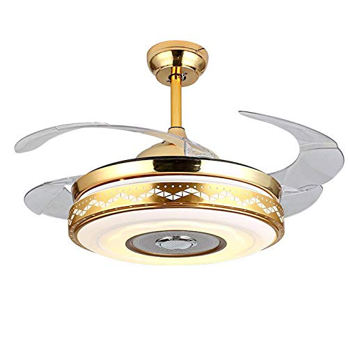 (Modern Retractable Blades Ceiling Fan with Light and Remote with Bluetooth Speaker Music Ceiling Light, Dimmable LED Kits Inlcuded 42 Inch)