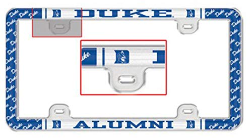 WinCraft Duke University Alumni Plastic License Plate Frame with Clear Tabs