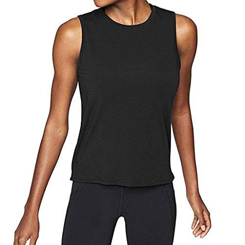 Camicie Top Canotta Open Sport Camicia Blusa Workout Tunica Camicetta Back Yoga Da Activewear Shirt B Muscolo Maglietta Pullover kword Palestra nero Donne Sexy HZrHqRT