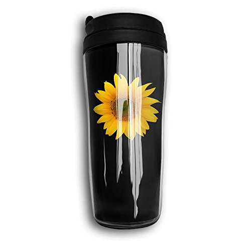 Insulated Water Bottle, Sunflower Black Decaf Mountain Outdoor Coffee Mug Carry Hand Cup Reusable Plastic Curve Travel Mug Coffee Tumbler For Women Men Kids Teens Adults Fathers Day Gifts