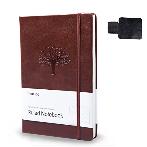 Ruled Journals/Notebooks,WERTIOO Leather Diary Hardcover Classic Writing notebook A5 Dotted Pages Thick Paper Business Gift for Men Women (Paper Journal)