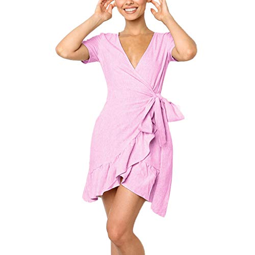 Alangbudu Women Deep V Neck Short Sleeve Shirts Dresses A Line Irregular Spilt Ruffle Hem Mini Skater Tunic Dress Pink ()