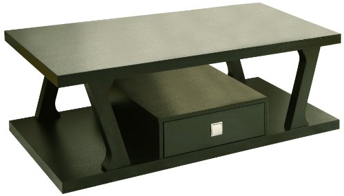 HOMES: Inside + Out ioHOMES Brix 1-Drawer Rectangular Coffee Table, Black