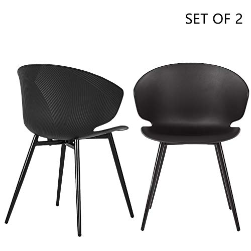 LIANFENG Set of 2 Shell Chair Mid-Century Mordern Shell Design Plastic Arm Chair for Kitchen Dining Bedroom Living Room Side Chairs Metal Legs Black