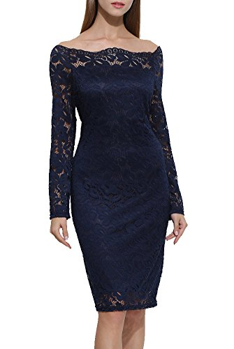 ZESICA Women's Off Shoulder Long Sleeve Sheer Floral Lace Twin Set Sheath Dress,Dark Blue,X-Large