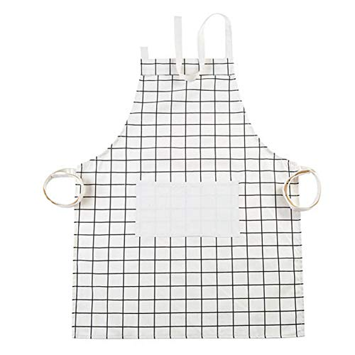 (LLRY Cotton Canvas Women's Apron with Convenient Pocket Durable Kitchen and Cooking Apron for Women Professional Stripe Chef Apron for Cooking, Grill and Baking (White Plaid))