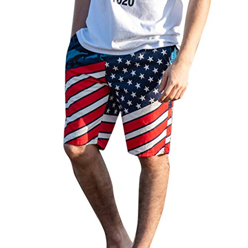 - Leegor 2019 Men's Relaxed Fit Printed USA Flag Boardshorts Swimming Surfing Pants Casual Elastic Drawstring Beach Trunks Dark Blue