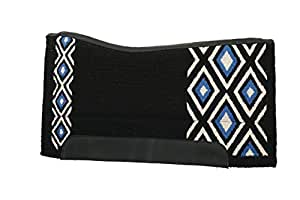 Weaver Leather Contoured EVA Sport Foam Saddle Pad with Woven Top and Felt Bottom, Black/Blue