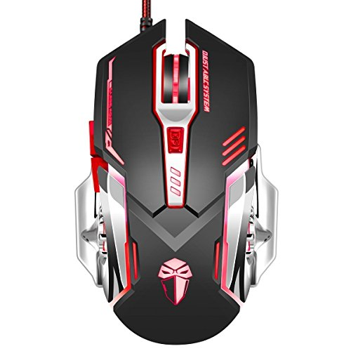 Gaming Mouse 3200 DPI Wired Programmable 5 Buttons Optical Ansot X5 Mice with Colorful Breathing LED