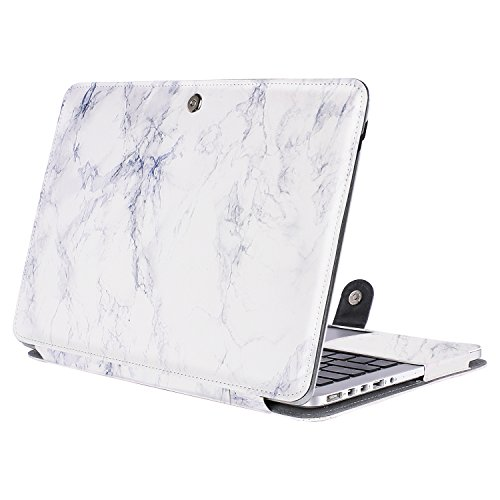 Mosiso PU Leather Case Only for MacBook Pro 13 Inch with Retina Display No CD-Rom (A1502/A1425, Version 2015/2014/2013/end 2012), Book Cover Folio Sleeve with Stand Function, White Marble