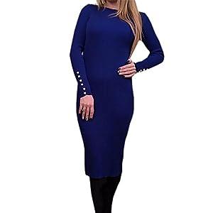 DraFenn Fashion Women Sexy Bodycon Dress Knitted Midi Dress Long Sleeve Package Hip Dress Blue XL