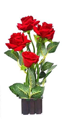 268 & Sofix Artificial Red Rose Flower Pot Natural Looking Decorative Beautiful Indoor Natural Looking Red Roses Flower Vase Artificial Flower - 12 ...