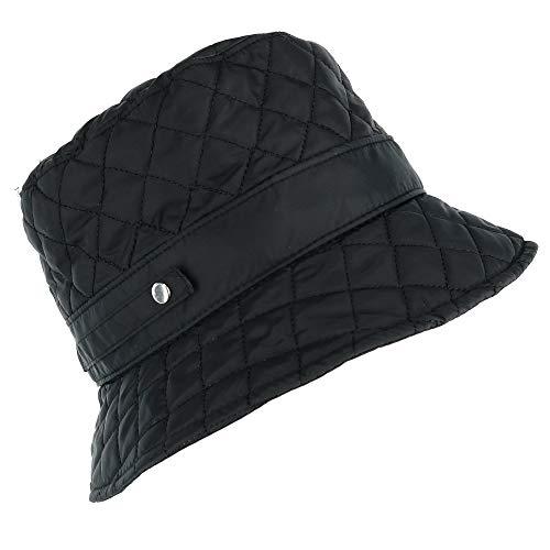 CTM Women's Packable Quilted Rain Bucket Hat, Black