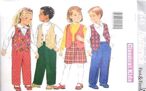 Butterick Sewing Pattern 4645 Toddler Vest, Skirt & Pants, Size 2 3 4