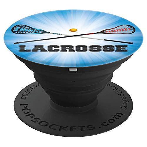 Lacrosse Crossed Sticks Blue Background for Boys - PopSockets Grip and Stand for Phones and Tablets
