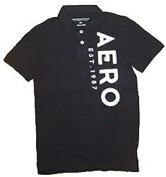 Aeropostale Men's AERO Graphic Logo Polo Shirt (S, Gray - 6883)