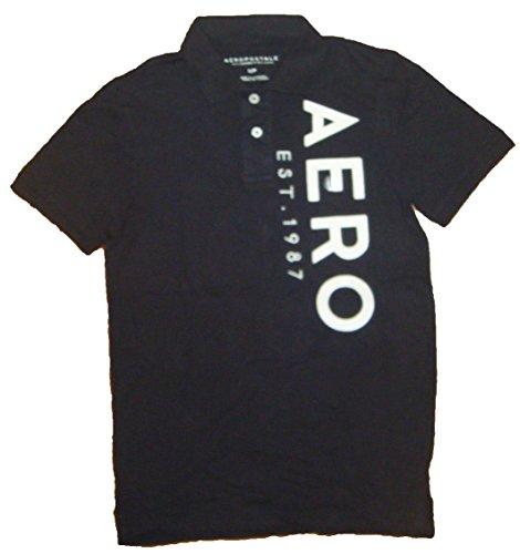Aeropostale Men's AERO Graphic Logo Polo Shirt (S, Black - 6883)