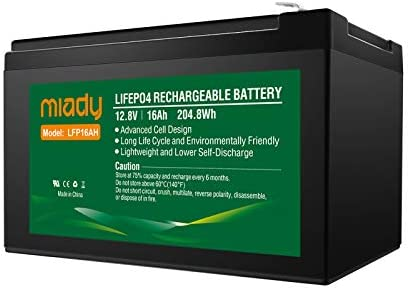 12V 16Ah Deep Cycle LiFePO4 Battery, 2000 Cycles Miady LFP16AH Rechargeable Battery, Maintenance-Free Battery for Golf Cart, Boat, Solar System, UPS and More …