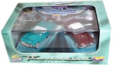 Hot Wheels Collectibles - 40th Anniversary of the Classic Two-Seat Thunderbird (1957-1997) - Limited Edition Two Car Set w/Display Case