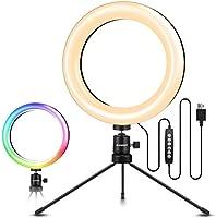 """ELEGIANT LED-ringljusstativ, 8 """"selfie-ringljus med 10 RGB-färgförändringar + 10 ljusstyrkenivåer, bordslampa kan dimas..."""