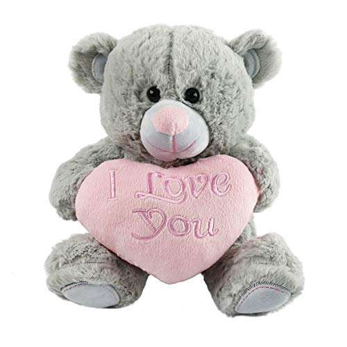 Athoinsu Teddy Bear with I Love You Heart Stuffed Animal Huggable Soft Plush Toys Gift for Girlfriend Wife Kids on Valentine's Birthday Children's Day Gifts, Gray, 11'' ()